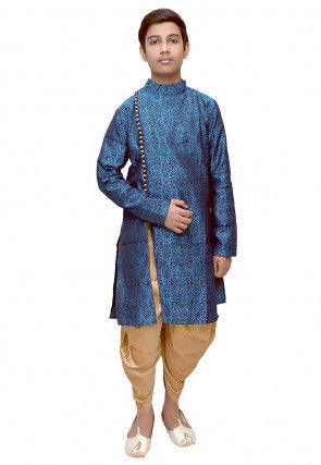 Brocade Dhoti Sherwani in Teal Blue