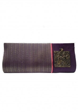 Brocade Envelope Clutch Bag in Purple