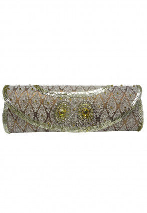 Brocade Flap Clutch Bag in Copper