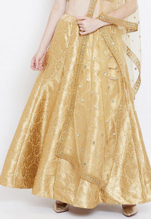 Brocade Flared Skirt in Golden