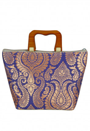 Brocade Hand Bag in Blue and Golden