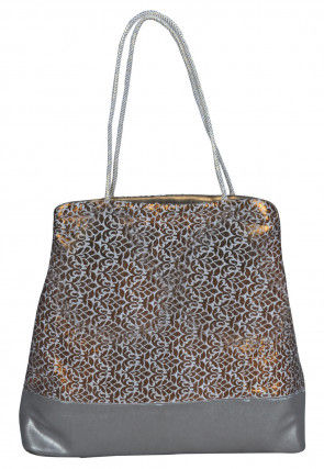 Brocade Hand Bag in Golden and Grey