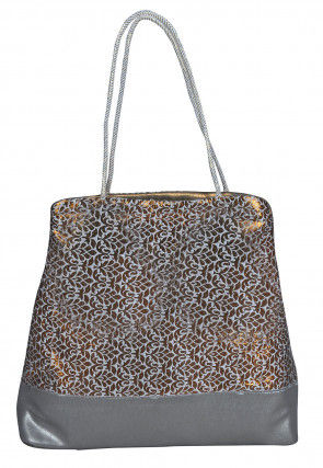 Brocade Hand Bag in Golden and Off White