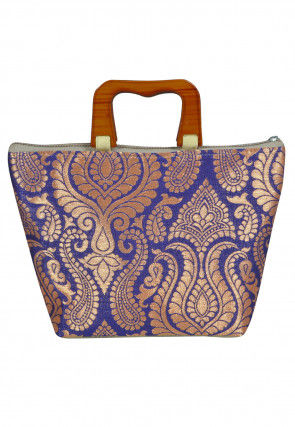 Brocade Hand Bag in Indigo Blue and Olive Green