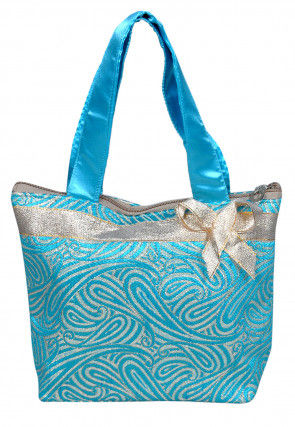Brocade Hand Bag in Light Blue