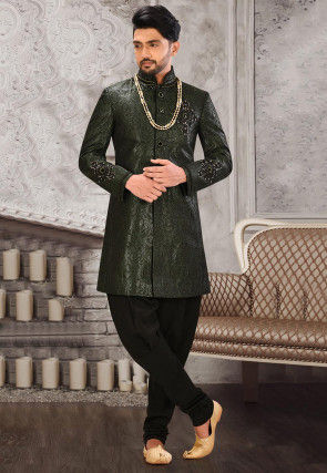 Brocade Jodhpuri Suit in Dusty Green