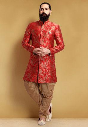 Brocade Jodhpuri Suit in Red