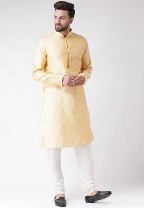 Brocade Kurta Pajama in Yellow