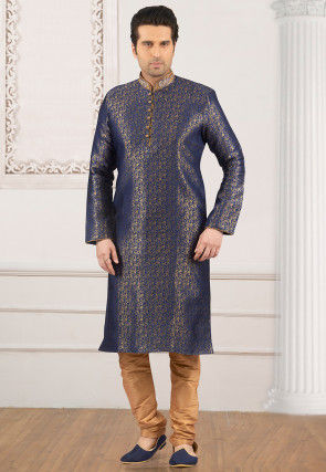 Brocade Kurta Set in Blue