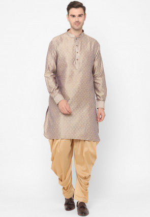 Brocade Kurta Set in Lilac and Beige