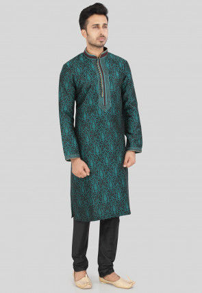 Brocade Kurta Set in Teal Blue and Black