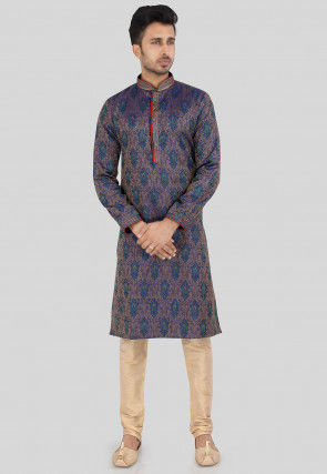Brocade Kurta Set in Teal Blue