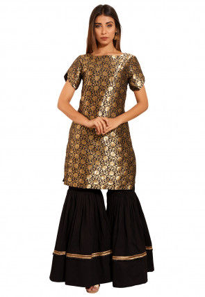 Brocade Kurti Set in Black