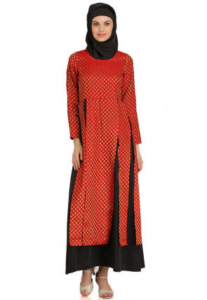 Brocade Layered Abaya in Red and Black