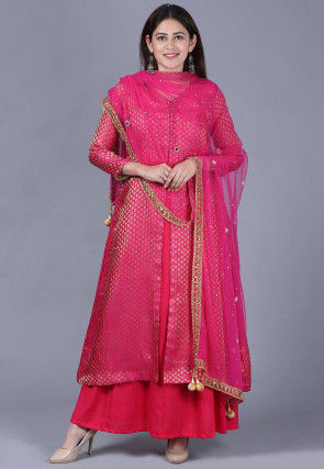 Brocade Layered Abaya Style Suit in Fuchsia