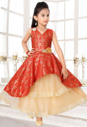 Brocade Layered Gown in Red and Beige