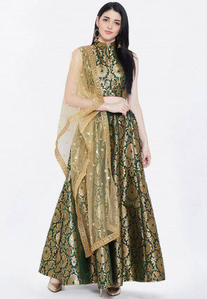 Brocade Lehenga in Dark Green