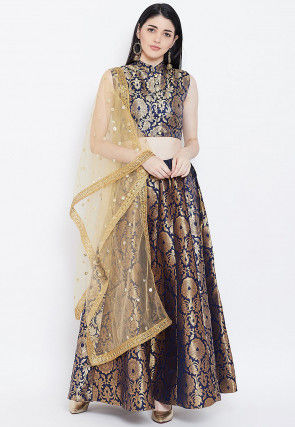 Brocade Lehenga in Navy Blue