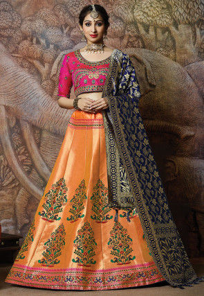 Brocade Lehenga in Peach