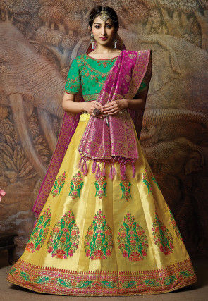 Brocade Lehenga in Yellow
