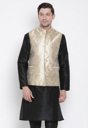 Brocade Nehru Jacket in Light Beige