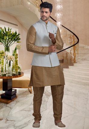 Brocade Nehru Jacket in Off White