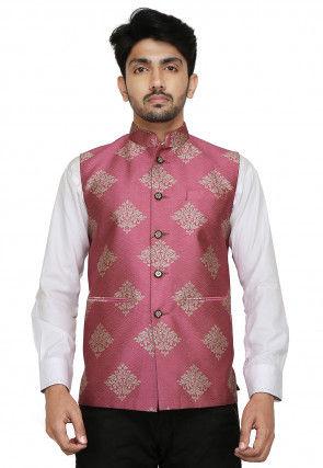 Brocade Nehru Jacket in Pink