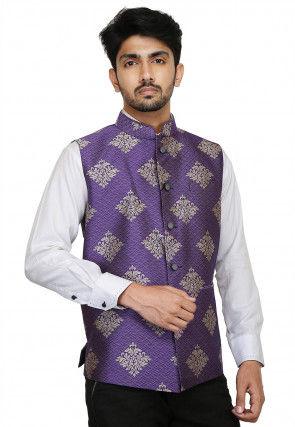 Brocade Nehru Jacket in Purple