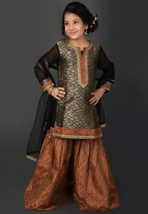 Brocade Pakistani Suit in Golden and Black
