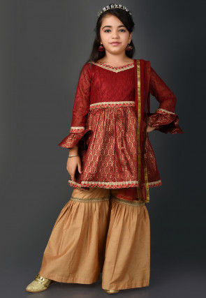 Brocade Pakistani Suit in Maroon
