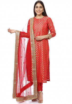 Brocade Pakistani Suit in Red