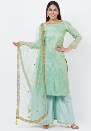 Brocade Pakistani Suit in Sea Green