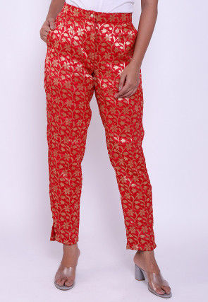 Brocade Pant in Red
