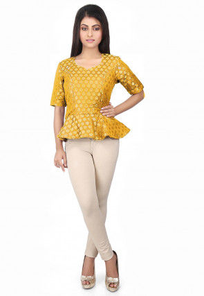 Brocade Peplum Style Top in Yellow