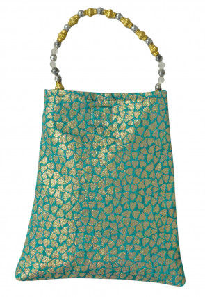 Brocade Potali Bag in Blue and Golden