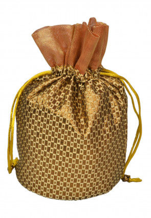 Brocade Potli Bag in Golden