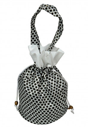 Brocade Potli Bag in Silver and Black