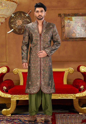 Brocade Sherwani in Dusty Green