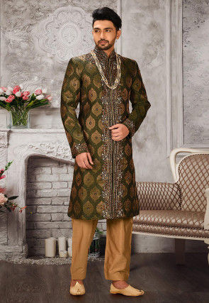 Brocade Sherwani in Green and Golden
