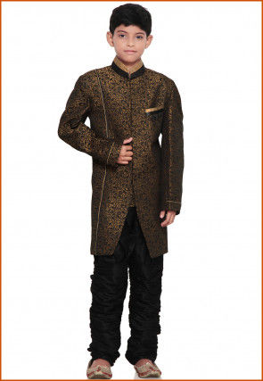 Brocade Sherwani Set in Antique