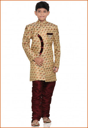 Brocade Sherwani set in Beige
