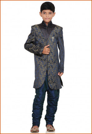 Brocade Sherwani set in Blue