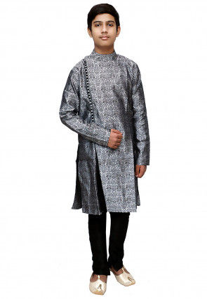 Brocade Sherwani Set in Grey