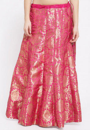 Brocade Skirt in Fuchsia