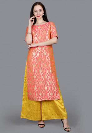 Brocade Straight Kurta in Dark Peach