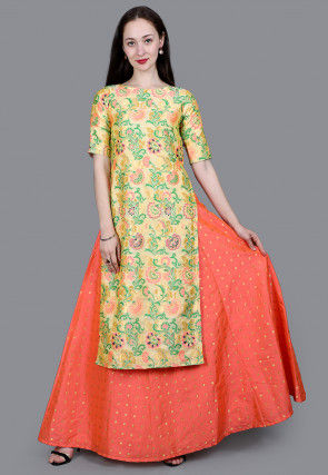 Brocade Straight Kurta in Multicolor