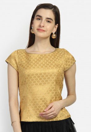 Brocade Top in Golden