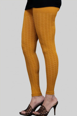 Readymade Cotton Knitted Stretch Seamless Legging in Mustard
