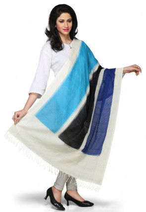 Handloom Cotton Dupatta in Multicolor