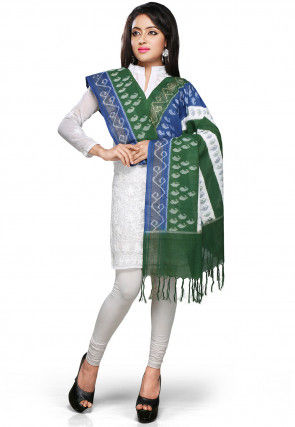 Handloom Cotton Dupatta In Green and Blue